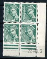 """N° 411** (MNH). Coin Daté Du 23/12/38 / Bloc De Quatre """"Mercure"""". - Angoli Datati"""