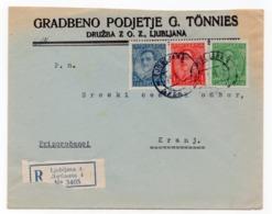 1932 YUGOSLAVIA, SLOVENIA, LJUBLJANA TO KRANJ, CONSTRUCTION CO. G. TONNIES,COMPANY HEAD COVER, REGISTERED MAIL - 1931-1941 Royaume De Yougoslavie