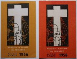 1956 - 1958 - 2 Cartes D'adhérente à L'ACGF - Action Catholique Générale Féminine -       .** Voir 2 Scans **/R2 - Images Religieuses