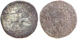 FRANCE - Henri III [1574-1589] - Quart D'écu 1582 T (Nantes) (Dup. 1133 ; 9,46 G) - 987-1789 Monnaies Royales