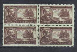 1957 Poland Polen Pologne : Mi.1043, Fi. 898, Vierer-Block, O Gestempelt , Joseph Conrad Korzeniowski, S. Scan - 1944-.... Republik