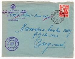 1955 YUGOSLAVIA, CROATIA, TPO 212 KOTORIBA-ZAGREB, SENT TO BELGRADE - 1945-1992 Socialist Federal Republic Of Yugoslavia