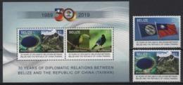 Belize (2019) - Set + Block -  /  Taiwan Relations - Flags - Birds - Nature - Jade Mountain - Blue Hole - Heritage - Birds