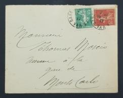 1917 Cover, Enveloppe De Gare Pour Monte Carlo, France, Republique Française - France