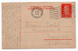 1956 YUGOSLAVIA, SERBIA, REPLAY CARD USED FROM UK, BIRMINGHAM TO BELGRADE, STATIONERY CARD, USED - Entiers Postaux