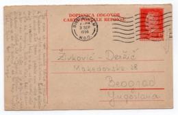 1956 YUGOSLAVIA, SERBIA, REPLAY CARD USED FROM UK, BIRMINGHAM TO BELGRADE, STATIONERY CARD, USED - Postal Stationery