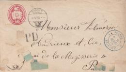 LETTRE. SUISSE. 8 4 1875. ENTIER 10c. PD. SARNEY POUR PARIS. ENTREE SUISSE BELFORT  / 3 - Interi Postali