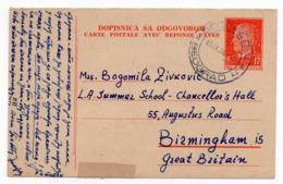 1956 YUGOSLAVIA, SERBIA, 17 DINARA CARD WITH REPLAY, BELGRADE TO BIRMINGHAM, UK, STATIONERY CARD, USED - Ganzsachen