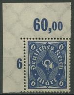 Deutsches Reich 1922/23 Posthorn Platte Oberrand 228 P OR Ecke O. Li. Postfrisch - Deutschland