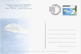 Entier / Stationery / PSC - PAP Polynésie Française : Carte N° 57 - Voyage Inaugural De L'Aranui à Pitcairn - Enteros Postales