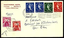 LETTRE EN PROVENANCE DE BRISTOL - 1958 - POUR WALDERSBACH - TAXE POUR LA FRANCE - - 1952-.... (Elisabetta II)