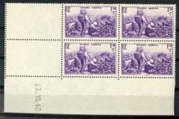 """N° 468 ** (MNH). Cote 25 €. Coin Daté Du 23/10/40 / Bloc De Quatre """"Vendanges"""". - 1940-1949"""
