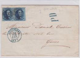 Belgie      .    OBP     .    7 Paar  Op  Brief  (2 Scans)    .         O     .     Gebruikt   .   /   .   Oblitéré - 1851-1857 Medallions (6/8)