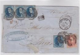 Belgie      .    OBP     .   Brief   ( 2 Scans)     .         O     .     Gebruikt   .   /   .   Oblitéré - 1851-1857 Medallions (6/8)