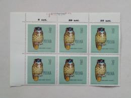 POLAND, BLOCK OF 6 STAMPS 50 GR Protected Birds Eagle-owl Oiseaux Protégés  Hibou Aigle 1960 Unused - Eagles & Birds Of Prey