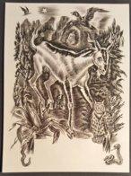 Gravure De DECARIS - Bélier Et Animaux (hibou Serpent Aigle) - TB (9 X 12 Cm) /P206 - Prints & Engravings