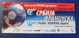 Handball - Ticket - Serbia - France / Srbija - Francuska - 28.10.2009 - Tickets - Entradas