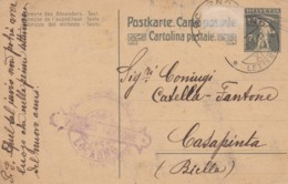 CARTE-POSTALE ENTIER  WALTER TELL 7 1/2c. 22 12 1899. EUGENIO FANTOME LOCARNO POUR CASAPINTA BIELLA  / 3 - Stamped Stationery