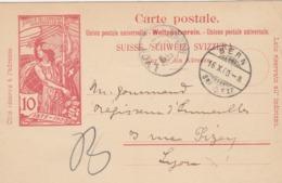 CARTE-POSTALE ENTIER  UPU 10c. 16 10 1900. BERN POUR LYON  / 3 - Entiers Postaux