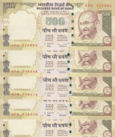 INDIA 500 RUPEES 2010 P-99e WITH LETTER E LOT X5 UNC NOTES */* - India