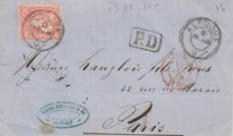 LETTRE. SUISSE. DEVANT. 13 OCT 1866. 30c. PD. ALTDORF POUR PARIS. ENTREE SUISSE ST LOUIS  / 3 - 1862-1881 Helvetia Seduta (dentellati)