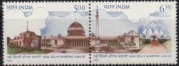 India MNH 1991, Se-tenent Delhi Diamond Jubille. Monument, Iron Pillar, Mineral, Lotus Temple, Religion, - India