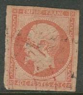 France 1861, 40c Orange On Straw, Imperforate, Used - 1853-1860 Napoleon III