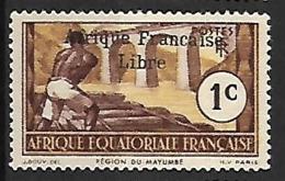 A.E.F. N°156 N**  Variété Sans Cédille  FRANCE LIBRE - A.E.F. (1936-1958)