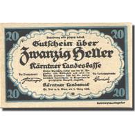Billet, Autriche, Landesrat, 20 Heller, Blason 1920-03-01, SPL, Mehl:FS 427 - Austria