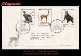 AMERICA. PERÚ SPD-FDC. 1973 FAUNA PROTEGIDA DEL PERÚ. SOBRE CIRCULADO LIMA. PERÚ-JALISCO. MÉXICO - Pérou
