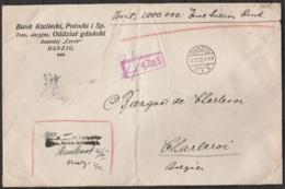 L. Chargée (recommandée) De Banque Càpt DANTZIG /-2.12.1922 Pour Banque De CHARLEROI - Belgique