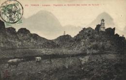 Tonkin Langson Pagodons Au Sommet Du Rocher De Ny-Lua + Beau Timbre 5c Indochine RV - Viêt-Nam