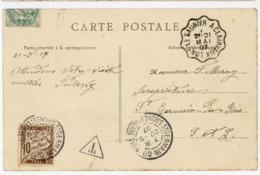 JURA CP 1907 LONS LE SAUNIER A CLAIRVAUX CONVOYEUR PUIS TAXE SAONE ET LOIRE ST GERMAIN DU BOIS - Marcophilie (Lettres)