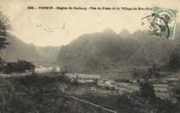 Tonkin Region De Caobang Vue Du Poste Et Du Village De Sioc Giang  + Beau Timbre 5c Indochine RV - Vietnam