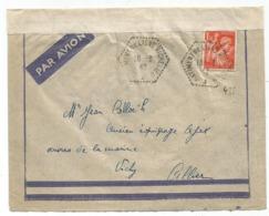 IRIS 1FR50 ORANGE LETTRE AVION  C. HEX PERLE BATIMENT DE LIGNE RICHELIEU 16.3.1942 POUR VICHY + BANDE - Poststempel (Briefe)