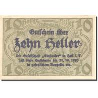 Billet, Autriche, Hall, 10 Heller, Château, 1920, 1920-10-31, SPL, Mehl:FS 343a - Austria