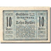 Billet, Autriche, Pennewang, 10 Heller, Eglise 1920 SPL Bleu Mehl:FS 727a - Austria