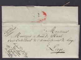 """BELGIQUE LETTRE DE HERVE 19/11/1818 DE""""LIEUTENANT COLONEL CHARLES DE HALLURY"""" VERS LIEGE (DD) DC-4422 - 1815-1830 (Dutch Period)"""