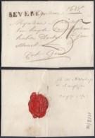 """BELGIQUE LETTRE DE BEVEREN 17/08/1927 GRIFFE"""" BEVEREN"""" ( 43.5x4.5) TAXE """"25"""" VERS GEND (DD) DC-4427 - 1815-1830 (Dutch Period)"""