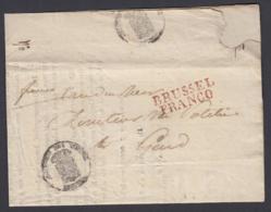 """BELGIQUE LETTRE DE BRUXELLES 07/11/1825 GRIFFE"""" BRUSSEL FRANCO"""" VERS GEND (DD) DC-4428 - 1815-1830 (Dutch Period)"""