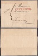"""BELGIQUE LETTRE DE ANVERS 09/06/1819 GRIFFE""""ANTWERPEN"""" (50X16) VERS TOURNAI (DD) DC-4434 - 1815-1830 (Dutch Period)"""