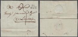 """BELGIQUE LETTRE DE HUY 09/01/1818 GRIFFE""""96 / HUY"""" (16X10) VERS LOUVAIN  (DD) DC-4435 - 1815-1830 (Dutch Period)"""