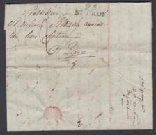 """BELGIQUE LETTRE DE SAINT-TROND 12/01/1814 GRIFFE""""95 / ST TRON"""" (30X11) VERS LIEGE TAXE(DD) DC-4439 - 1815-1830 (Dutch Period)"""