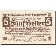 Billet, Autriche, Freistadt, 5 Heller, Château 1920-10-31, SPL, Mehl:FS 212a - Austria