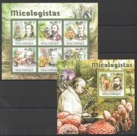 BC1238 2011 MOZAMBIQUE MOCAMBIQUE NATURE MICOLOGISTAS MUSHROOMS 1BL+1SH MNH - Pilze