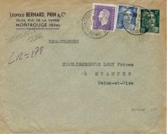 1945- Enveloppe RECC. Provisoire De Montrouge Affr. Composé à 7 F. PERFORE L B ( Léopold Bernard ) - 1921-1960: Période Moderne