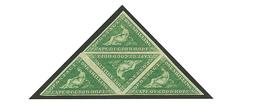 CAPE OF GOOD HOPE : 1 SHILLING Dark Green (SG 8b) Triangular Block Of 4 Unused With Large Part Original Gum. RARE. B.P.A - África Del Sur (...-1961)