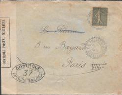 VILLARS MONTROYER 52 - HAUTE MARNE - ENVELOPPE CIRCULEE A PARIS AN 1917 AVEC CONTROLE POSTAL MILITAIRE - Francia