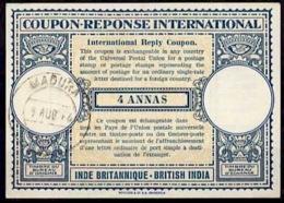 INDE BRITANNIQUE / BRITISH INDIA 1946, Lo14 4 ANNAS International Reply Coupon Reponse Antwortschein IRC IAS O MADURA - Sin Clasificación