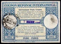 INDE / INDIA Lo15 HS 7 Annas / 5a 6pInternational Reply Coupon Reponse Antwortschein IRC IAS O BOMBAY CASH 16.10.50 - Sin Clasificación